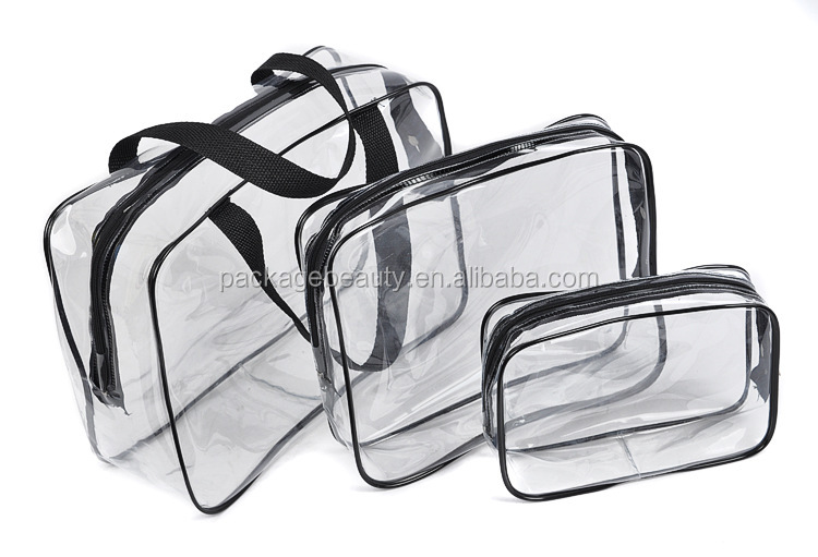 Large size zipper top clear plastic pvc storage bag with handle