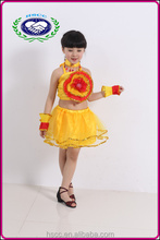 Popular kids latin dance sunflower carnival party costumes