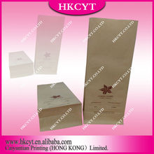 8 Side Seal Kraft Paper Coffee Packaging / Square Gussest Paper Packaging For Coffee