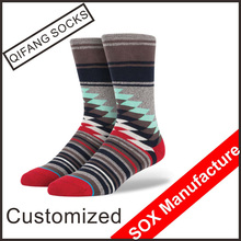 Men knitted technics custom combed cotton brand name socks