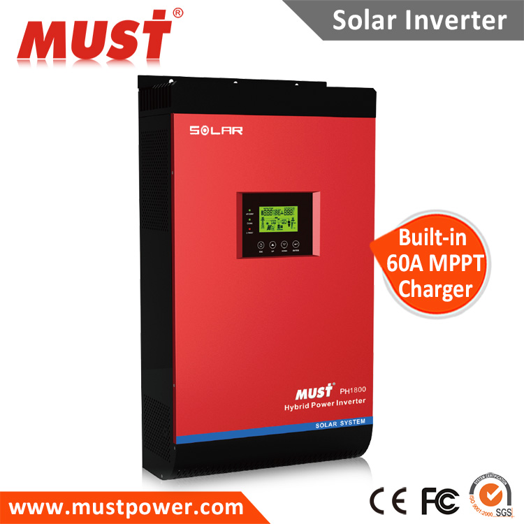 China Manufacturer MUST PH1800 Plus 3000VA Hybrid Solar Power Inverter with LCD Display for Grid Connected PV