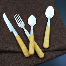Eco-Friendly Stocked Wooden Plastic Handle Set Flatware