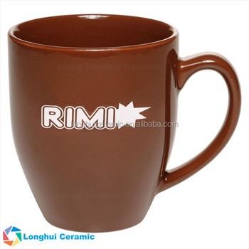 16oz glossy vibrant color promotional items with logo customizable ceramic bistro mug