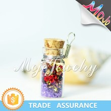 Ball Chain Charm Necklace in Wish Bottle Version Using Natural Stone Pieces Charm Necklace Chain in Roll