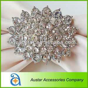 Sparkle Flower Crystal Rhinestone Diamond Napkin Ring for Wedding,Silver and gold