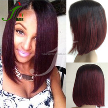 Dark Roots 99J Red Ombre Lace Front Wig Straight Malaysian Human Hair Glueless Full Lace Short Bob Wigs With Natural Hairline
