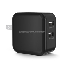 4.8A 5V dual port usb mobile phone smart charger with foldable US plug
