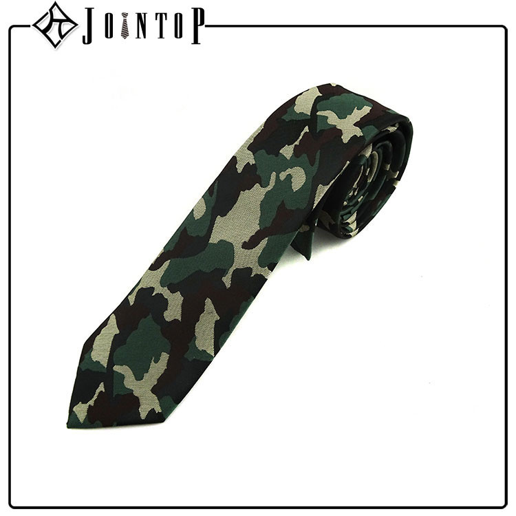 custom made new cheap silk camouflage skinny tie for man