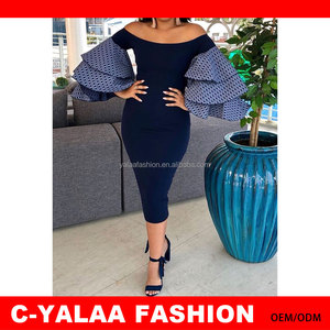 2018 C- Yalaa Women Off Shoulder Layer Ruffle Sleeves Dating Dress Plus Size