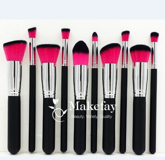 Beauty Essential Kit - Set of 10pcs Brushes MakeUp Face Eye Cosmetic Brush +Case