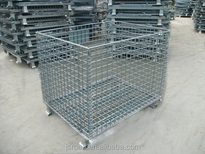 Bulk selling foldable metal storage cage for warehouse wire mesh container