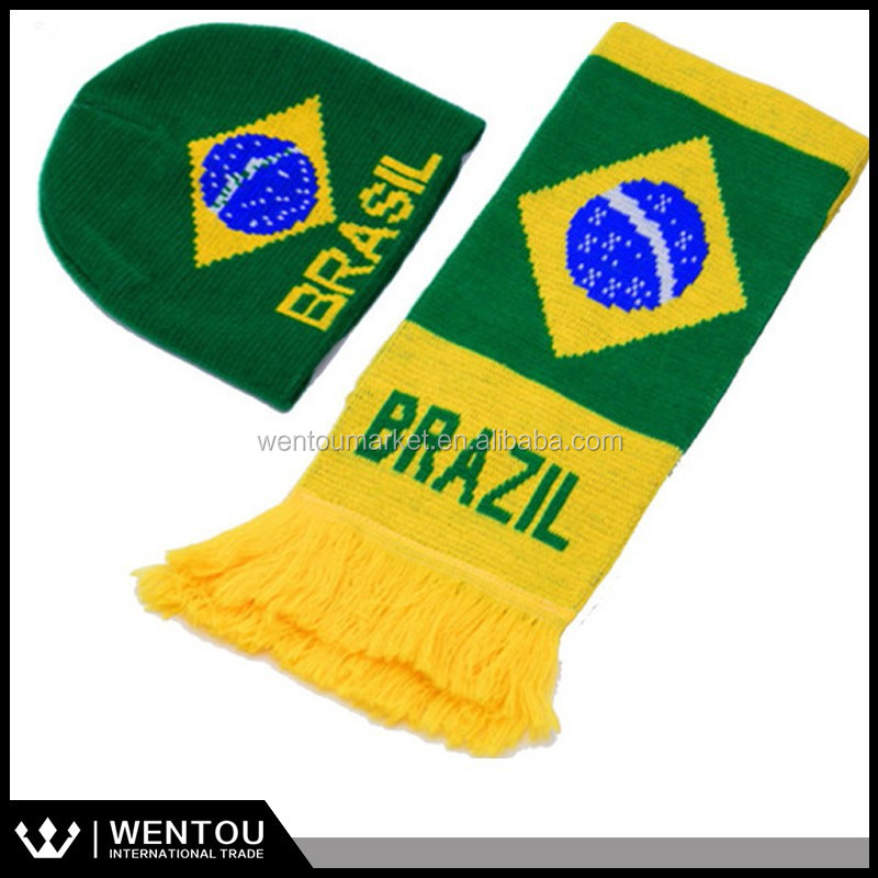 football fans scarf and hat Hot 100% acrylic football scarf hat
