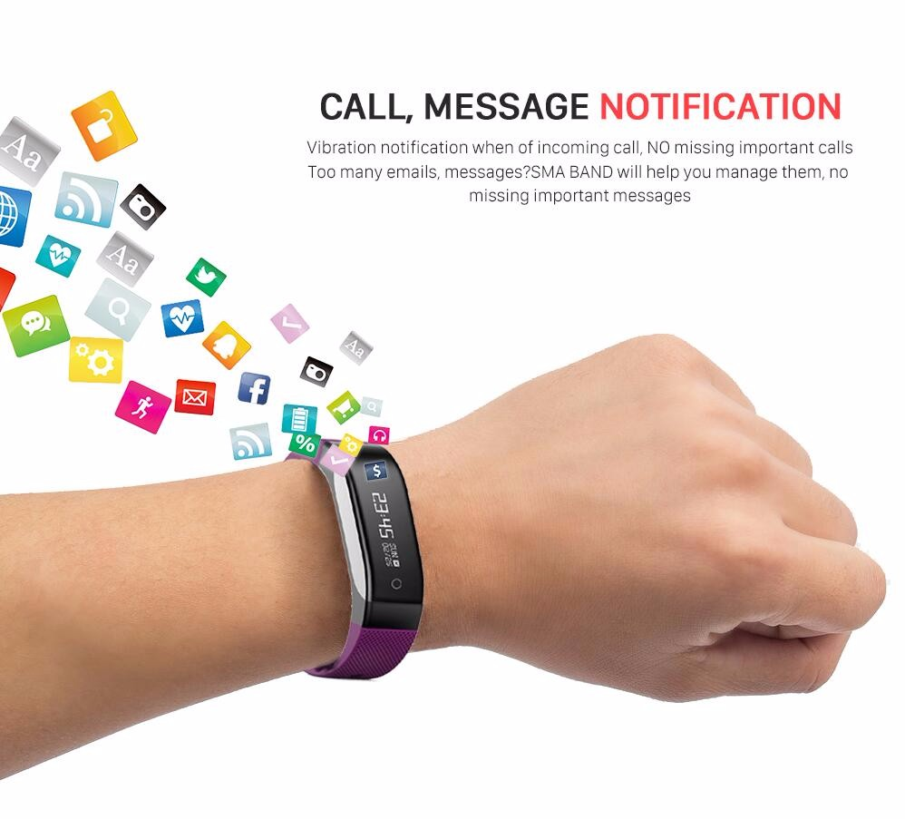 SMA-COACH Fitness Tracker with Sdk and Api Heart Rate Monitor Touch Screen Smart Band PK Mi Band