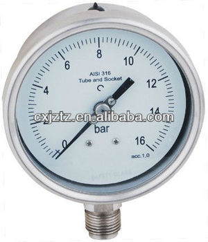 "100mm 4.0""lower mounted all stainless steel pressure gauge manometer bayonet bezel"