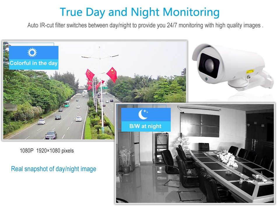 Full HD 1080P Outdoor 10X 5.1-51mm Optical Zoom Middle Speed Pan Tilt Rotation PTZ IP Security Camera