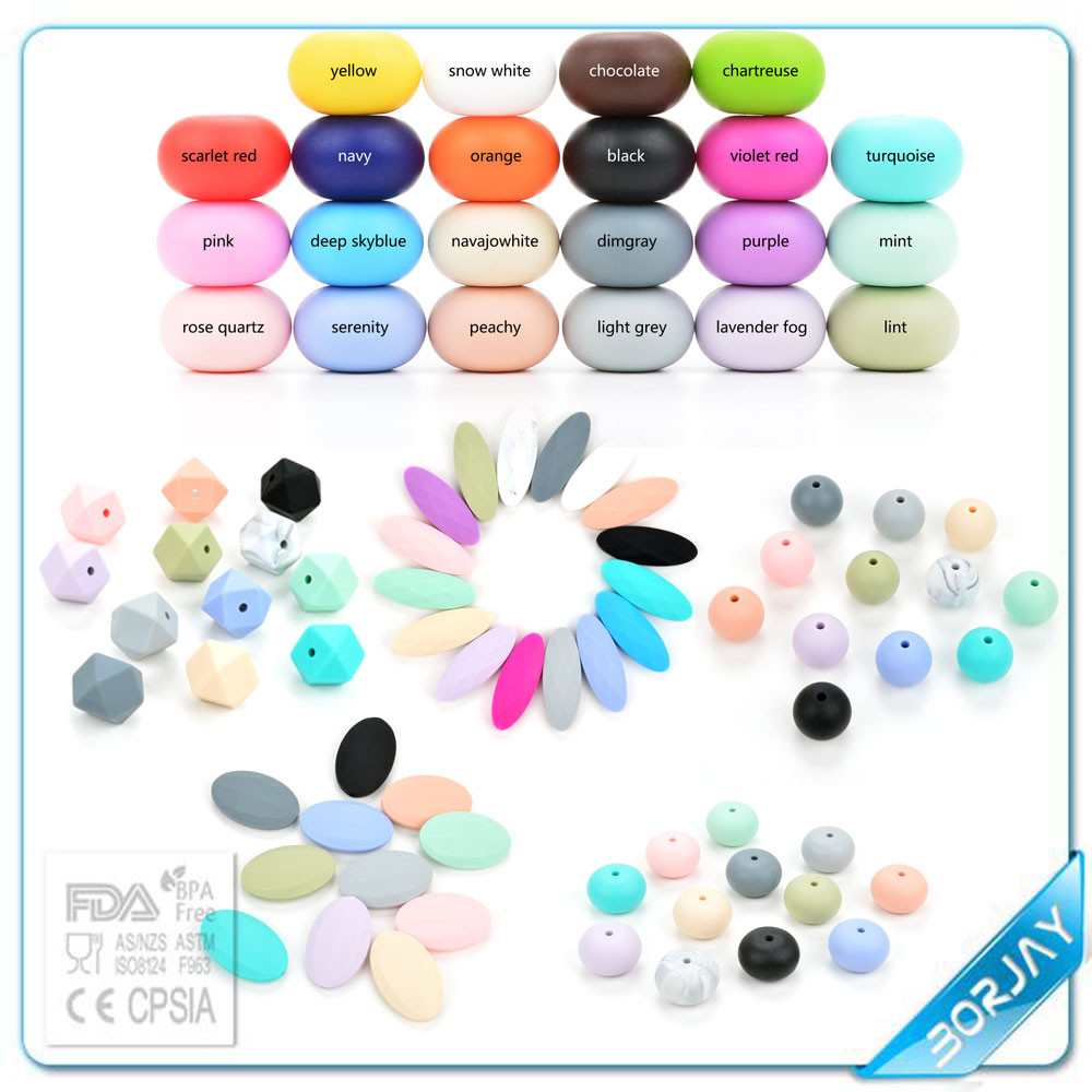 2016 BPA Free Food Grade Silicone New Bead Silicone Teething Beads Wholesale Silicone Loose Beads Bulk
