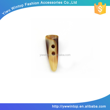 2 hole custom small resin toggle horn button for coat
