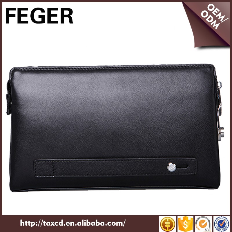 China Supplier Fashion Leather Clutch Bag with Zipper Strap