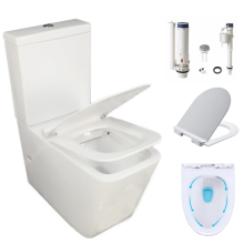 washdown two hole two piece toilet whole sale soft close water closet with UF cover import sanitarios China