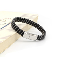 stainless steel men leather magnetic bracelet wholesale