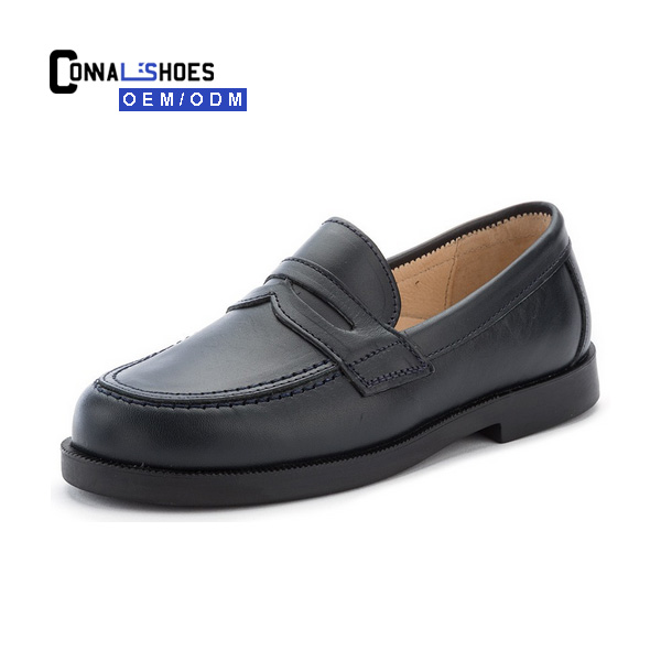 Connal kids Waterproof Blank black back to leather loafer school shoes