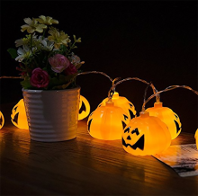 cheap Halloween Pumpkin String Lights Jack Lantern Pumpkin Lights LED 3D Pumpkin Lantern Lights String Warm White Halloween