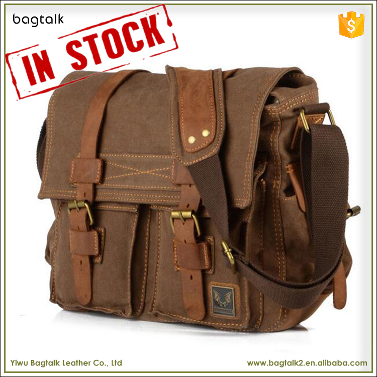 1MS0180 Best Custom Mens or Women Vintage Leather Shoulder Waxed Cotton Canvas Messenger Bags