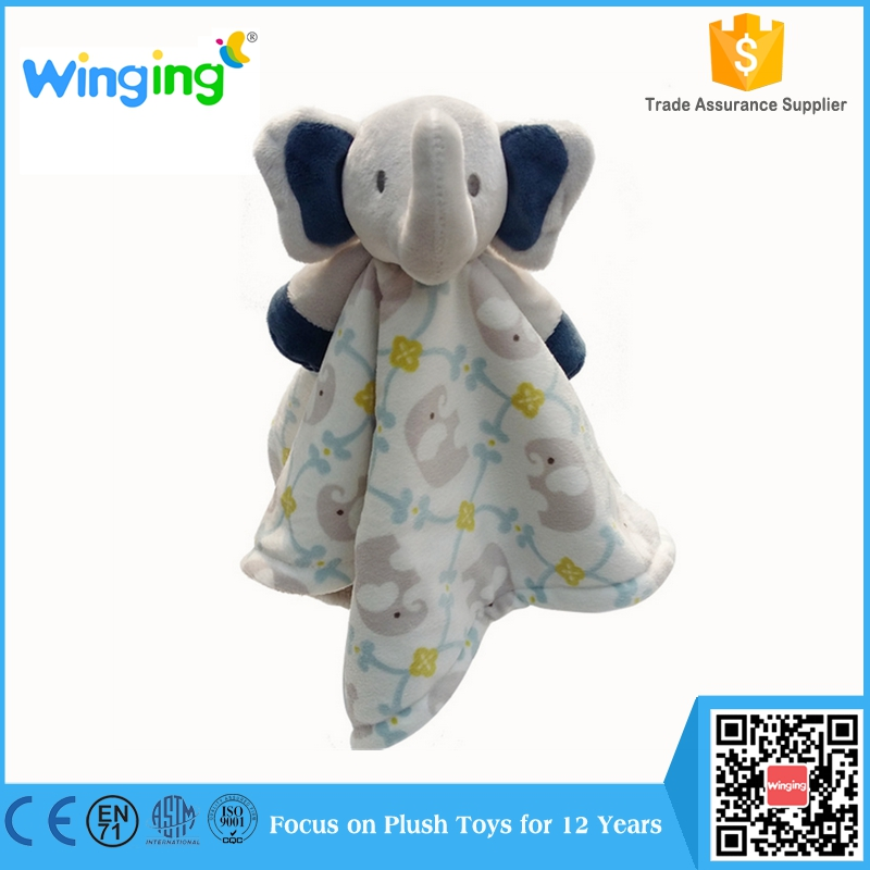 Square cuddle animal head baby receiving blanket plush baby security blanket