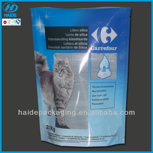 stand up pouch with tear notch,cat litter bag