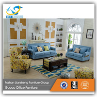 New product American style fabric living room leisure comfortable sofa set with soild wood legs