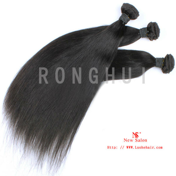 Very Cheap Hair Extensions Double Weft Unprocessed Brazilian Silky Straight Virgin Remy Human Hair Weft color #1
