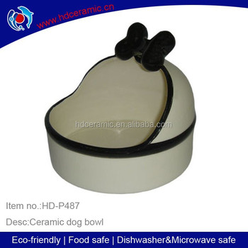 New design ceramic white dog feeder With Bowknot , Ceramic Unique Cat Food Bowl