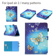 Fashion Six patterns Blue Butterfly Cover For Apple IPad Air 2 9.7 Tablet PU Leather Flip Stand Case