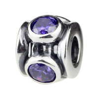 Wholesale Purple Round Zircon Spacer Beads Antique 925 Sterling Silver Jewelry for European Bracelet