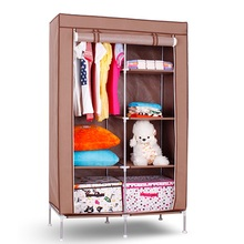 Custom brown non woven portable foldable assemble fabric wardrobe