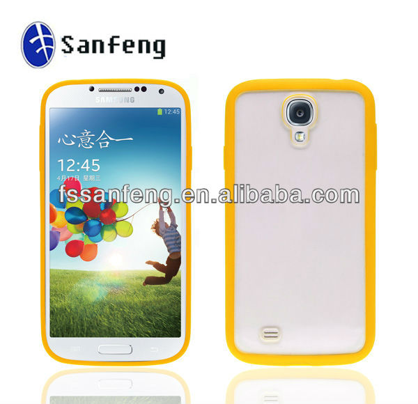 Tpu Bumper Case Clear Cover For Samsung Galaxy S4/Tpu Frame With Yellow Pc For Samsung S4/Simple Tpu Cover Case For Samsung S4