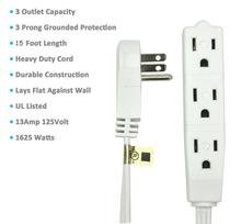 Extension Cord with 3 Electrical Power Outlet 16/3 Heavy Duty White Cable