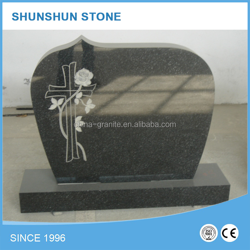 Wholesale European Style Carved Cross Poland Granite Monument