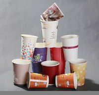 colorful disposable paper coffee cups