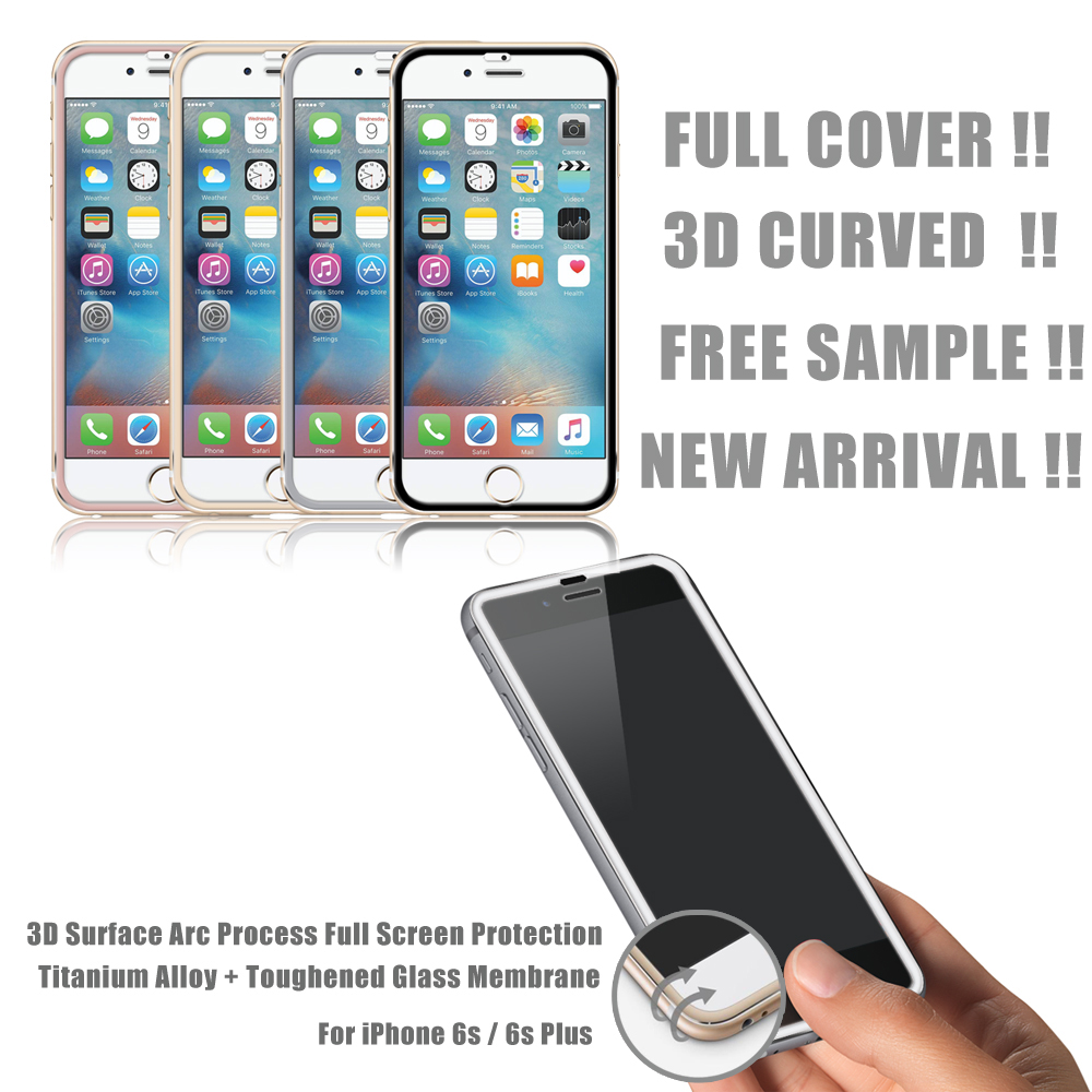OEM 100% Full Covered !! 9H Anti Shock Colorful Titanium alloy tempered glass screen protector for iphone6