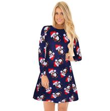 L3019A New 2018 ladies elegant snow man santa claus print women long sleeve casual christmas dress