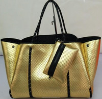 perforated metallic neoprene hand bag( STNB- 061)
