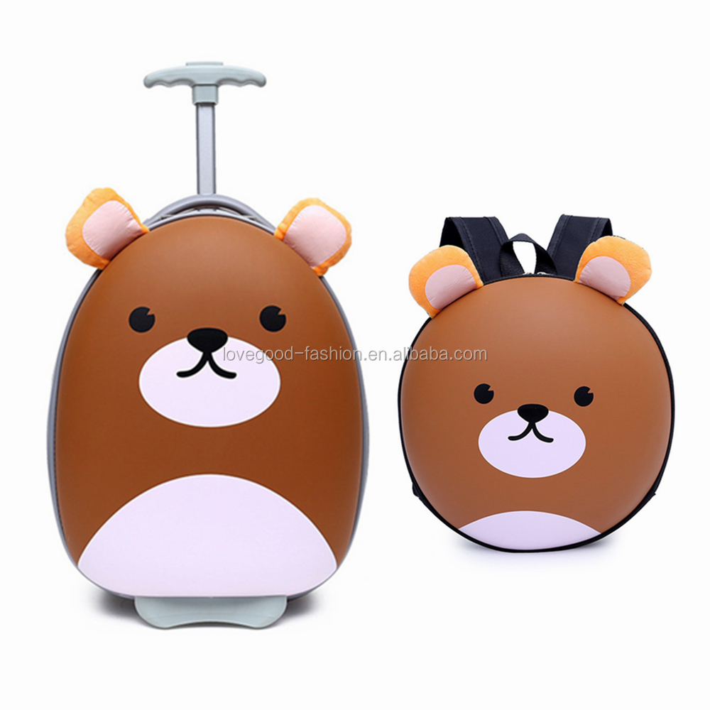 Cheap Brand Luggage and Bag for Kids EVA Cartoon Brown Bear Shell Trolley Luggage