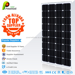 Powerwell Solar Top Supplier Solar Panel Price 150w Mono With CE/IEC/TUV/ISO Approval Standard
