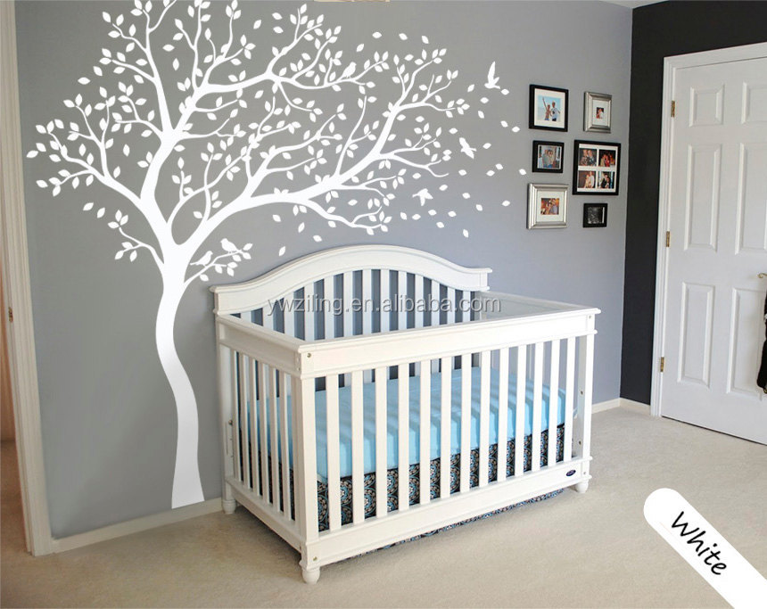 YA319 Personalized Name Large White Tree Wall Decals Flying Birds Falling Leaves Tree Wall Sticker For Kids Room Baby Nursery