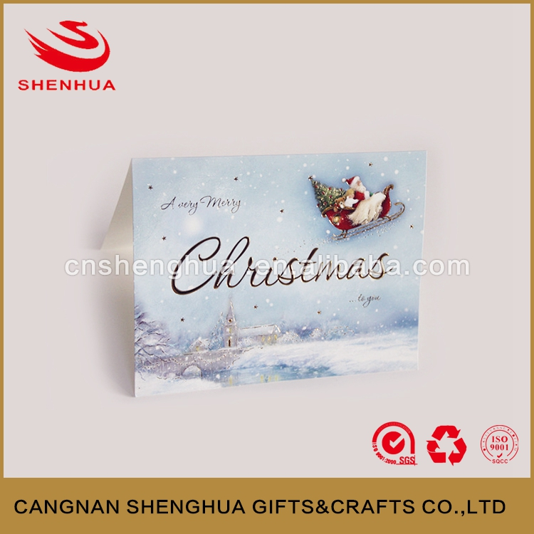 2016 Popular Fashion Style Custom Handmade Decoration christmas greeting card