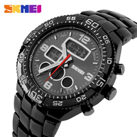 2016 luxury skmei 1030 brand multi-function dual time japan quartz&digital movement 3atm waterproof diver stainless steel watch