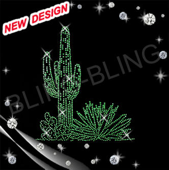 Hot bling iron on designs pigeons and cactus wholesale rhinestone transfer