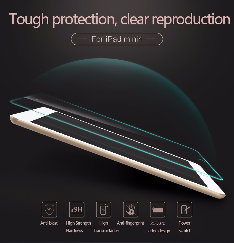 0.33mm 9H for iPad Mini 4 Laptop Tempered Glass Screen Protector for Apple iPad Explosion Proof Clear Toughened Protective Film