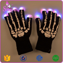 Factory Cheapest Wholesale Led Light Flash Skeleton Gloves for Christmas Halloween Party